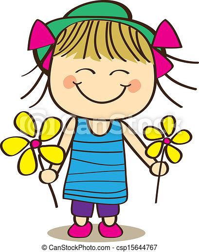 cute little girl holding flower rh canstockphoto com clipart little girl praying clipart little girl singing