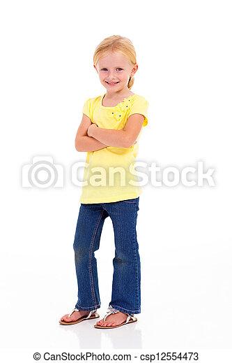 cute little girl full length portrait - csp12554473
