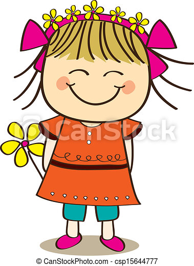 cute little girl holding flower vectors illustration search rh canstockphoto com clipart little girl praying clipart little girl praying
