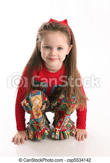 be13a597f991f Cute little girl in christmas wear. Adorable preschool girl wearing ...