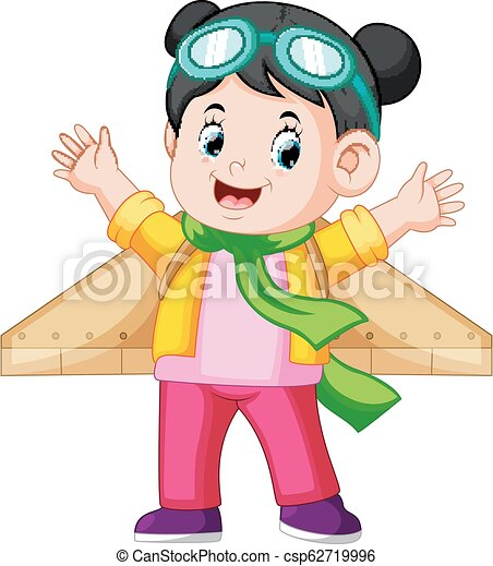 Illustration Of Cute Little Girl In Pilot Glasses Playing With Wings