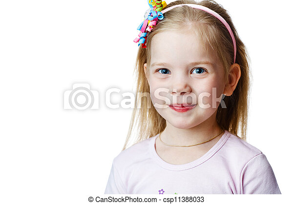 cute little girl in studio on white background - csp11388033