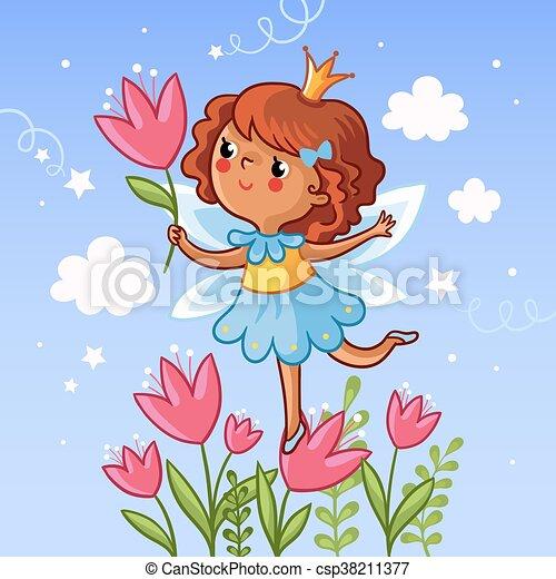 Cute little girl on a flower. - csp38211377