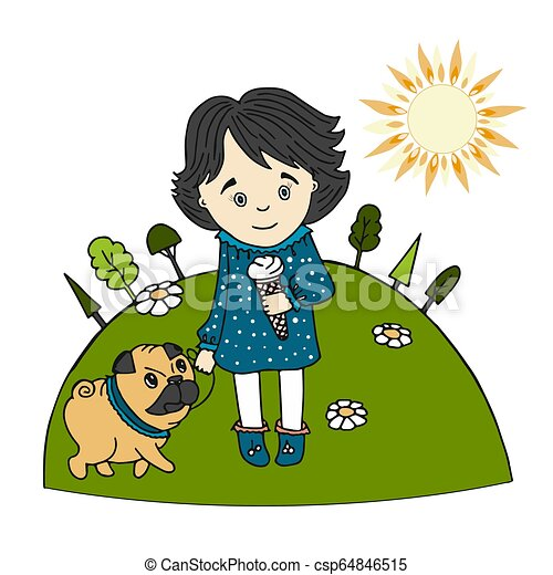 Cute little girl with ice cream in her hand and a dog pug on the lawn in summer, Sunny day, cartoon style - csp64846515