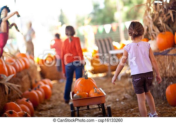 Cute Little Girls Pulling Their Pumpkins In A Wagon - csp16133260