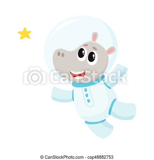 Cute Little Hippo Animal Astronaut Spaceman Character Wearing Space