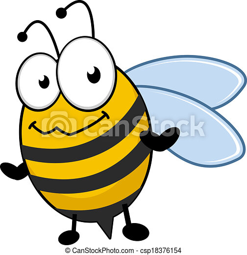 Cute little honey bee with a bemused expression - csp18376154