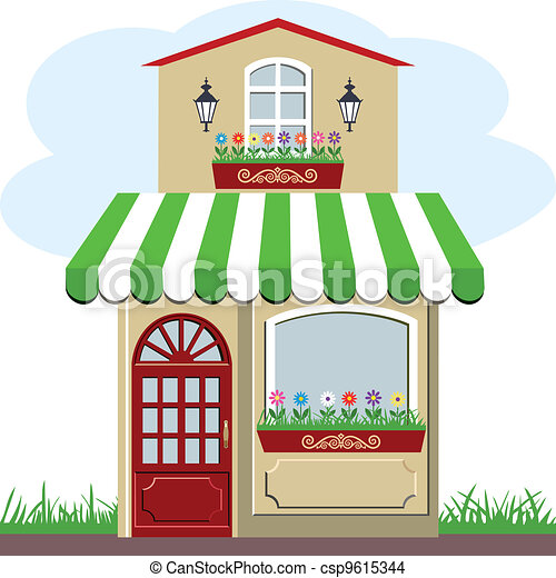Cute little house and store - csp9615344