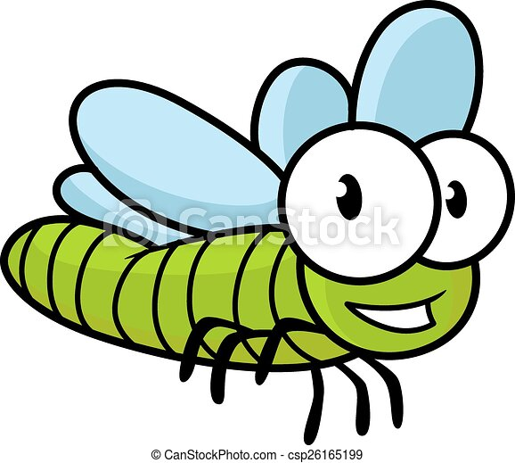 cute little kids cartoon flying dragonfly with a green body and