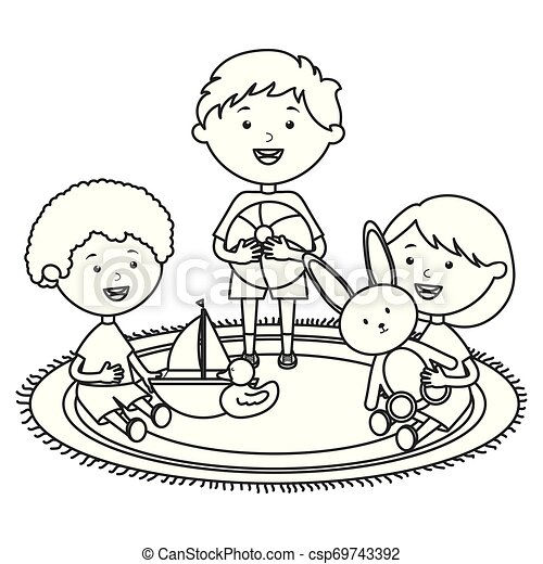 cute little kids group playing with toys characters - csp69743392
