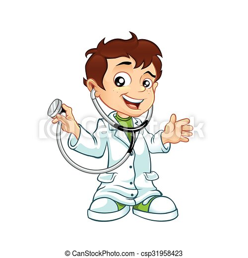 Cute little male doctor smiling  - csp31958423