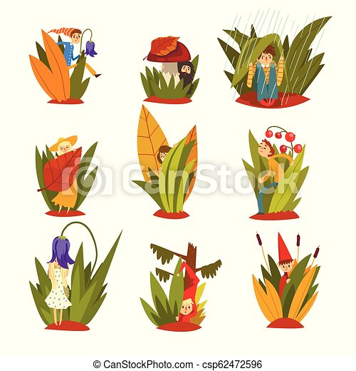 Cute little people in tall grass set, funny fairy creatures on beautiful natural landscape vector Illustration on a white background - csp62472596