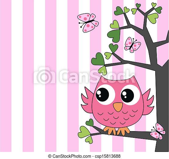 cute little pink owl - csp15813688