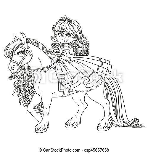 Cute little princess riding on a white horse outlined picture for coloring book on white background - csp45657658