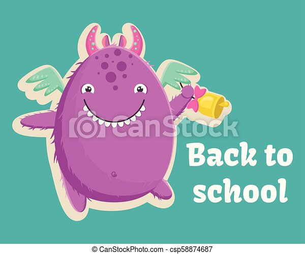 Cute little purple monster is ready for the first day of school with a bell in his paw. Vector illustration. - csp58874687