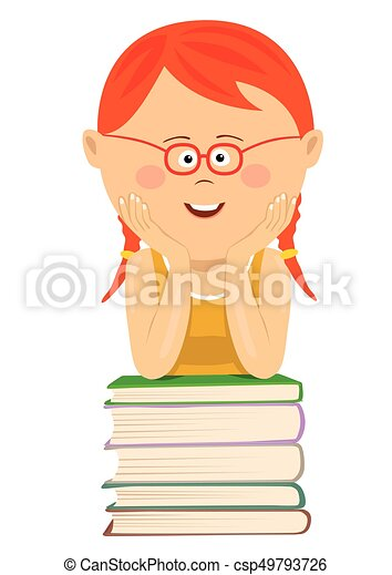 Cute Little Red Haired Nerd Girl With Glasses Leans On Stack Of Books Over White