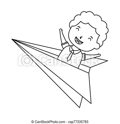 Cute Little Student Boy In Paper Airplane Vector Illustration Design