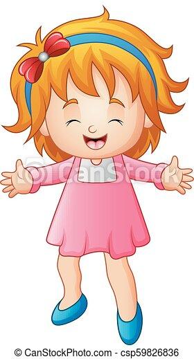 Cute little woman in a pink dress - csp59826836