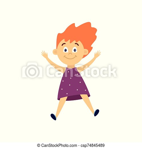 Cute little woman jumping in air - cartoon child with happy face mid jump - csp74845489