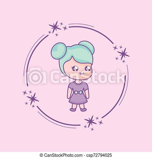 cute little woman kawaii style - csp72794025