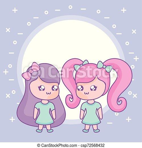 cute little women kawaii style - csp72568432