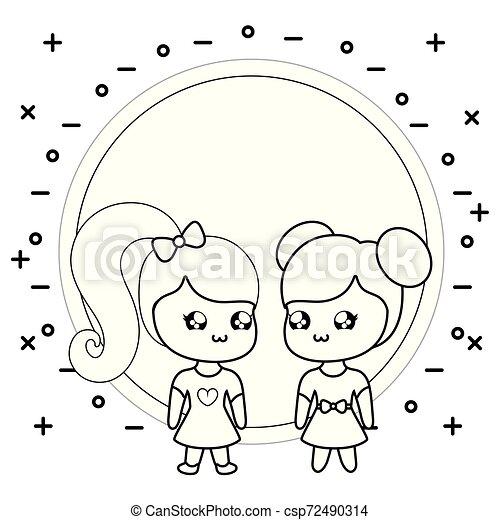 cute little women kawaii style - csp72490314