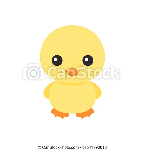 Cute Little Yellow Duck Icon Cartoon, Character Of Duck For Children Illustration Book, Flat Design