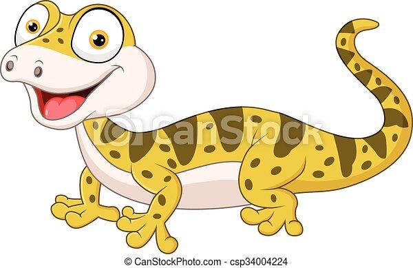 Cute lizard posing isolated  - csp34004224