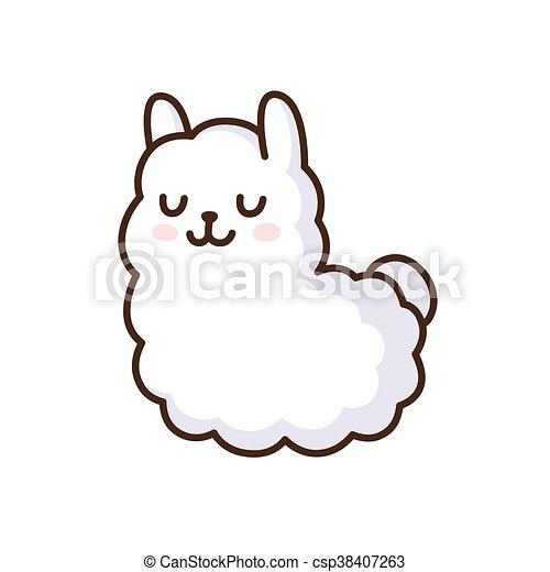 cute llama illustration. cute cartoon llama vector clip art