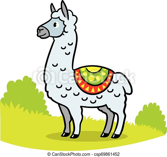 Cute Llama Just Chilling There Alone Cartoon Funny Hand Drawn Vector Illustration