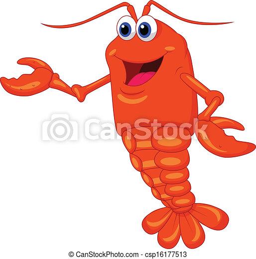 Cute lobster cartoon presenting  - csp16177513