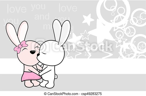 cute love baby boy and girl bunny cartoon background cute love baby