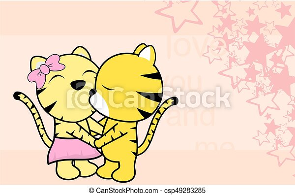 cute love baby boy and girl tiger cartoon background cute vector rh canstockphoto com cute love birds clipart cute love couple clipart