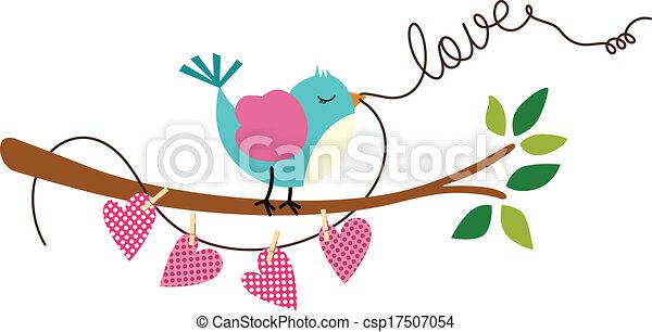 Cute Love Bird on Branch Tree - csp17507054