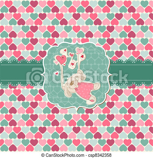 Cute Love Card - for Valentine's day, scrapbooking  in vector - csp8342358