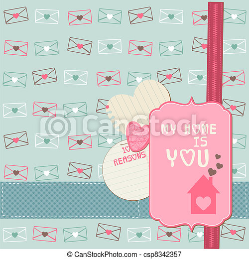 Cute Love Card - for Valentine's day, scrapbooking  in vector - csp8342357