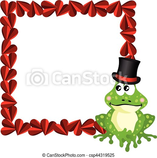 Cute love frog frame. Scalable vectorial image representing a cute ...