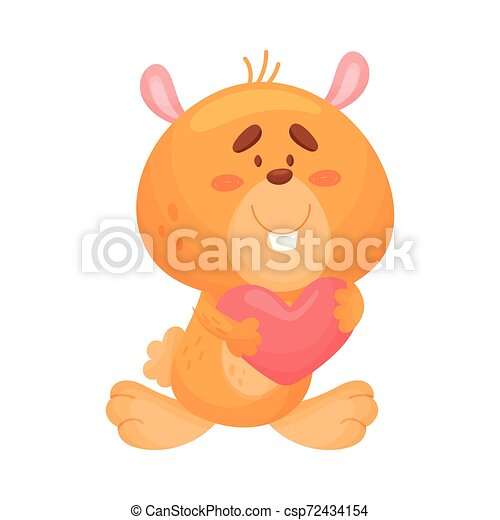 Cute love hamster. Vector illustration on white background. - csp72434154