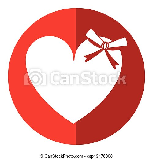 Cute Love Heart Passion With Bow Shadow Vector Illustration Eps 10