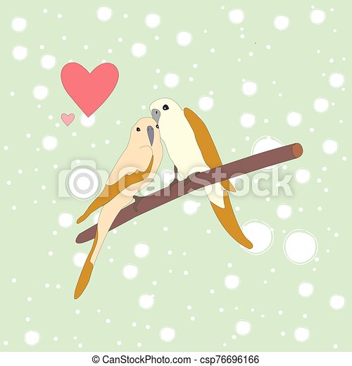 Cute lovely birds sitting on a branch - csp76696166