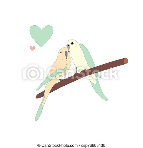 Cute lovely birds sitting on a branch - csp76685438