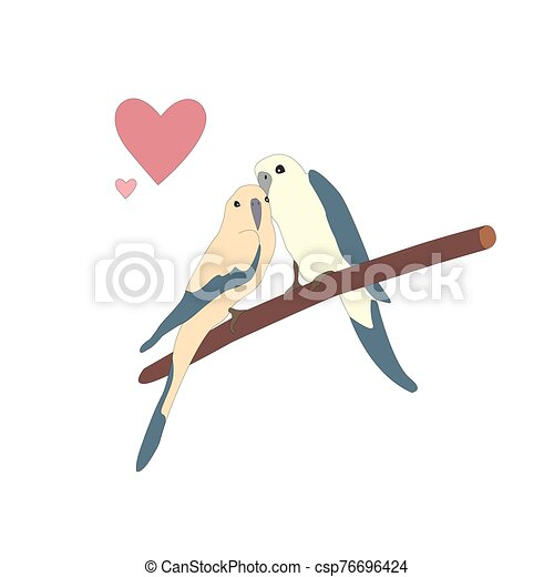 Cute lovely birds sitting on a branch - csp76696424