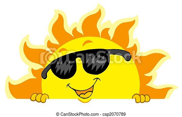 Cute lurking Sun with sunglasses - csp2070789