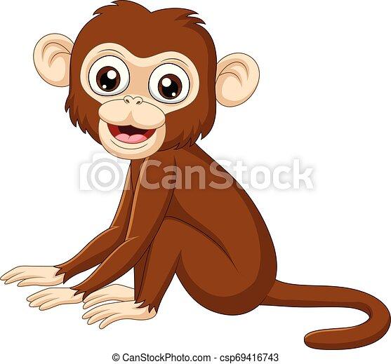 Cute Macaco Sentando Fundo Bebe Branca Cute Macaco