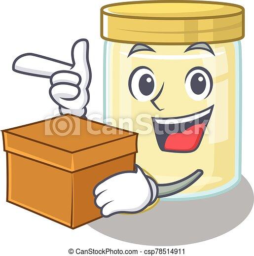 Cute macadamia nut butter cartoon character having a box - csp78514911