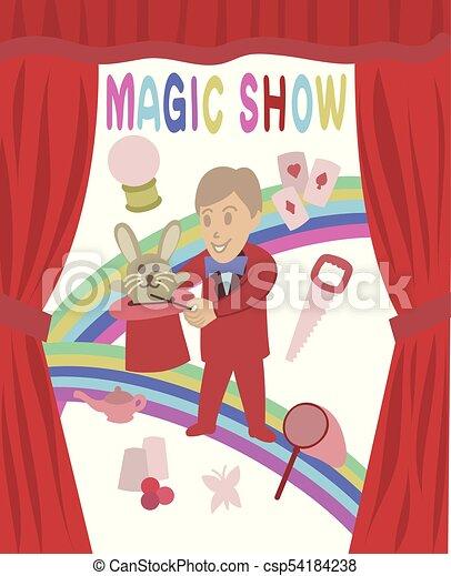 Cute magic show vector art - csp54184238
