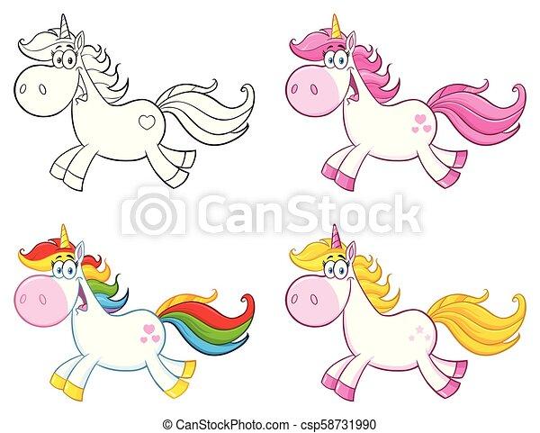 Cute Magic Unicorn Cartoon Mascot Character Set 1. Collection - csp58731990