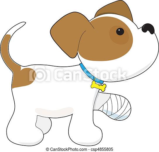 cute, magoado, filhote cachorro, pata - csp4855805