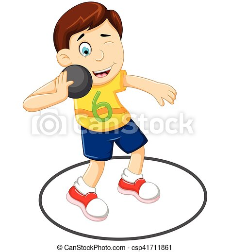 vector illustration of cute man athlete doing shot put clip art rh canstockphoto ie
