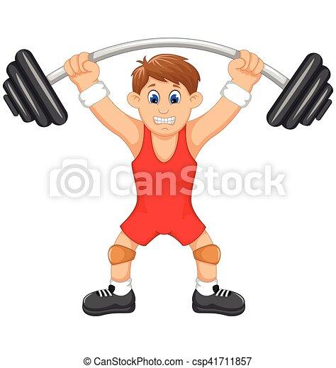 cute man athlete doing weightlifter - csp41711857